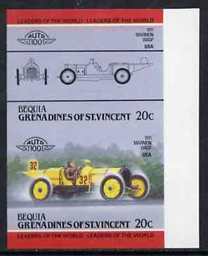 St Vincent - Bequia 1984 Cars #2 (Leaders of the World) 20c (1911 Marmon Wasp) imperf se-tenant proof pair in issued colours from limited printing unmounted mint*