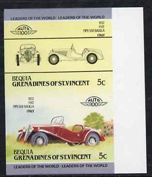 St Vincent - Bequia 1984 Cars #2 (Leaders of the World) 5c (1932 Fiat Balilla) imperf se-tenant proof pair in issued colours from limited printing unmounted mint*