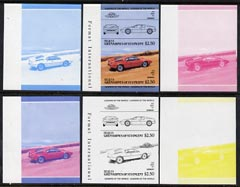St Vincent - Bequia 1984 Cars #2 (Leaders of the World) $2.50 (1978 BMW M-1) set of 6 imperf se-tenant progressive colour proof pairs comprising the four individual colours plus 2 and all 4-colour composites unmounted mint