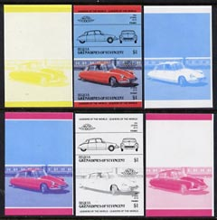 St Vincent - Bequia 1984 Cars #2 (Leaders of the World) $1 (1955 Citroen DS 19) set of 6 imperf se-tenant progressive colour proof pairs comprising the four individual colours plus 2 and all 4-colour composites unmounted mint