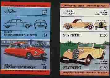 St Vincent - Bequia 1984 Cars #2 (Leaders of the World) $1 (1955 Citroen DS 19) imperf se-tenant proof pair in issued colours from limited printing unmounted mint*