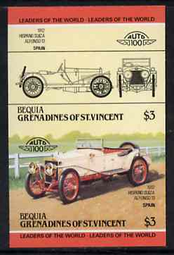 St Vincent - Bequia 1984 Cars #2 (Leaders of the World) $3 (1912 Hispano Suiza) imperf se-tenant proof pair in issued colours from limited printing unmounted mint*