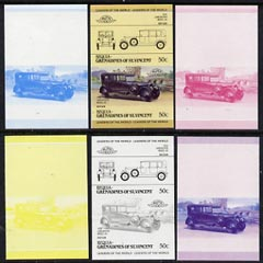 St Vincent - Bequia 1985 Cars #3 (Leaders of the World) 50c (1924 Lanchester) set of 6 imperf se-tenant progressive colour proof pairs comprising the four individual colours plus 2 and all 4-colour composites unmounted mint