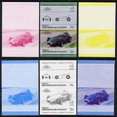 St Vincent - Bequia 1985 Cars #3 (Leaders of the World) 25c (1958 Vanwall 2\DB Litre) set of 6 imperf se-tenant progressive colour proof pairs comprising the four individual colours plus 2 and all 4-colour composites unmounted mint