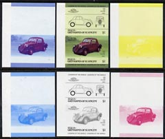 St Vincent - Bequia 1985 Cars #3 (Leaders of the World) $1 (1936 Fiat) set of 6 imperf se-tenant progressive colour proof pairs comprising the four individual colours plus 2 and all 4-colour composites unmounted mint