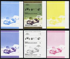 St Vincent - Bequia 1985 Cars #3 (Leaders of the World) 5c (1968 Excalibur) set of 6 imperf se-tenant progressive colour proof pairs comprising the four individual colours plus 2 and all 4-colour composites unmounted mint
