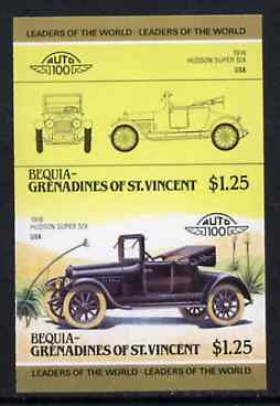 St Vincent - Bequia 1985 Cars #3 (Leaders of the World) $1.25 (Hudson Super Six) imperf se-tenant proof pair in issued colours from limited printing unmounted mint*, stamps on cars    hudson
