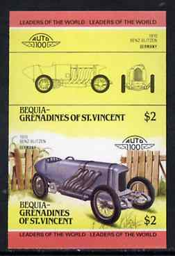 St Vincent - Bequia 1985 Cars #3 (Leaders of the World) $2 (Benz-Blitzen) imperf se-tenant proof pair in issued colours from limited printing unmounted mint*