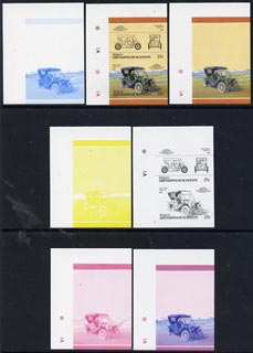 St Vincent - Bequia 1986 Cars #5 (Leaders of the World) 25c (1910 Stanley Model 60) set of 7 imperf se-tenant progressive colour proof pairs comprising the four individual colours plus 2, 3 and all 4-colour composites unmounted mint