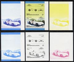 St Vincent - Bequia 1986 Cars #5 (Leaders of the World) $3 (1954 Mercedes Benz) set of 6 imperf se-tenant progressive colour proof pairs comprising the four individual colours plus 2 and all 4-colour composites unmounted mint