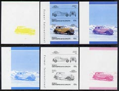 St Vincent - Bequia 1986 Cars #5 (Leaders of the World) 65c (1929 Isotta Fraschini) set of 6 imperf se-tenant progressive colour proof pairs comprising the four individual colours plus 2 and all 4-colour composites unmounted mint
