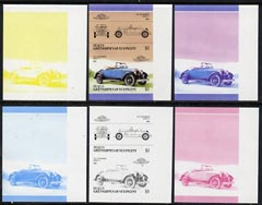 St Vincent - Bequia 1986 Cars #5 (Leaders of the World) $1 (1922 Duesenberg Model A) set of 6 imperf se-tenant progressive colour proof pairs comprising the four individual colours plus 2 and all 4-colour composites unmounted mint