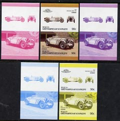 St Vincent - Bequia 1986 Cars #6 (Leaders of the World) 90c (1928 Mercedes Benz) set of 5 imperf se-tenant progressive colour proof pairs comprising two individual colours, two 2-colour composites plus all 4-colour final design unmounted mint