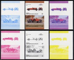 St Vincent - Bequia 1986 Cars #6 (Leaders of the World) $3 (1927 Stutz Black Hawk) set of 6 imperf se-tenant progressive colour proof pairs comprising the four individual colours plus 2 and all 4-colour composites unmounted mint