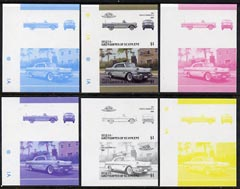St Vincent - Bequia 1986 Cars #6 (Leaders of the World) $1 (1957 Pontiac Bonneville) set of 6 imperf se-tenant progressive colour proof pairs comprising the four individual colours plus 2 and all 4-colour composites unmounted mint