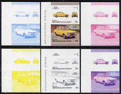St Vincent - Bequia 1986 Cars #6 (Leaders of the World) 20c (1968 Ford Escort) set of 6 imperf se-tenant progressive colour proof pairs comprising the four individual colours plus 2 and all 4-colour composites unmounted mint