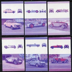 St Vincent - Bequia 1986 Cars #6 (Leaders of the World) set of 12 (6 se-tenant pairs) each in imperf progressive colour proofs in magenta & blue only unmounted mint