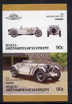 St Vincent - Bequia 1986 Cars #6 (Leaders of the World) 90c (1928 Mercedes Benz) imperf se-tenant proof pair in issued colours from limited printing unmounted mint*