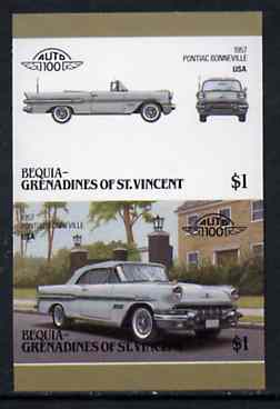 St Vincent - Bequia 1986 Cars #6 (Leaders of the World) $1 (1957 Pontiac Bonneville) imperf se-tenant proof pair in issued colours from limited printing unmounted mint*