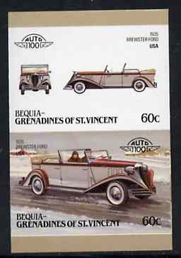 St Vincent - Bequia 1986 Cars #6 (Leaders of the World) 60c (1935 Brewster Ford) imperf se-tenant proof pair in issued colours from limited printing unmounted mint*