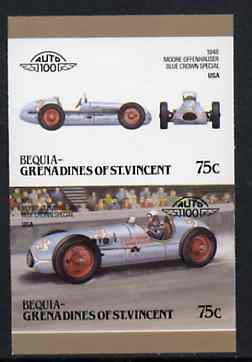 St Vincent - Bequia 1986 Cars #6 (Leaders of the World) 75c (1948 Moore-Offenhauser Special) imperf se-tenant proof pair in issued colours from limited printing unmounted mint*
