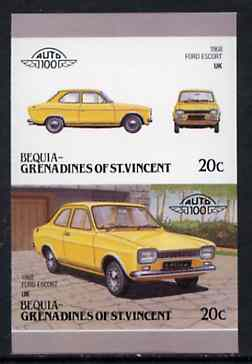 St Vincent - Bequia 1986 Cars #6 (Leaders of the World) 20c (1968 Ford Escort) imperf se-tenant proof pair in issued colours from limited printing unmounted mint*