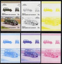 St Vincent - Bequia 1987 Cars #7 (Leaders of the World) 75c (1936 Ford Popular) set of 6 imperf se-tenant progressive colour proof pairs comprising the four individual colours plus 2 and all 4-colour composites unmounted mint