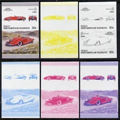 St Vincent - Bequia 1987 Cars #7 (Leaders of the World) 80c (1936 Mercedes Benz) set of 6 imperf se-tenant progressive colour proof pairs comprising the four individual colours plus 2 and all 4-colour composites unmounted mint