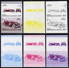 St Vincent - Bequia 1987 Cars #7 (Leaders of the World) $1.75 (1933 Stutz DV32 Phaeton) set of 6 imperf se-tenant progressive colour proof pairs comprising the four individual colours plus 2 and all 4-colour composites unmounted mint