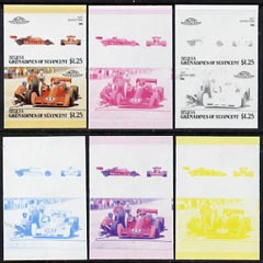 St Vincent - Bequia 1987 Cars #7 (Leaders of the World) $1.25 (1977 Coyote Ford) set of 6 imperf se-tenant progressive colour proof pairs comprising the four individual c...