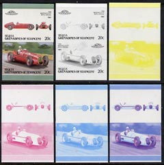 St Vincent - Bequia 1987 Cars #7 (Leaders of the World) 20c (1939 Maserati  8 CTF) set of 6 imperf se-tenant progressive colour proof pairs comprising the four individual colours plus 2 and all 4-colour composites unmounted mint