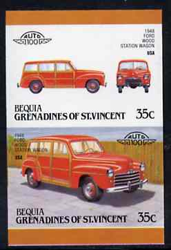 St Vincent - Bequia 1987 Cars #7 (Leaders of the World) 35c (1948 Ford Station Wagon) imperf se-tenant proof pair in issued colours from limited printing unmounted mint*