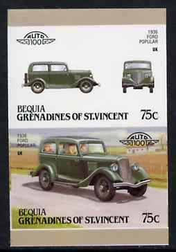 St Vincent - Bequia 1987 Cars #7 (Leaders of the World) 75c (1936 Ford Popular) imperf se-tenant proof pair in issued colours from limited printing unmounted mint*
