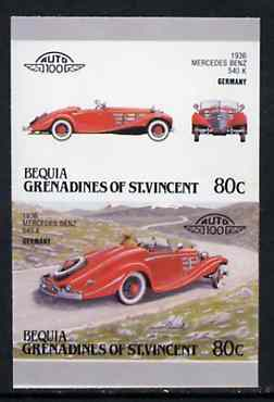 St Vincent - Bequia 1987 Cars #7 (Leaders of the World) 80c (1936 Mercedes Benz) imperf se-tenant proof pair in issued colours from limited printing unmounted mint*