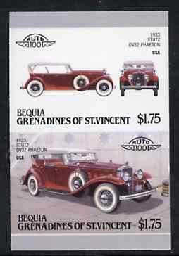 St Vincent - Bequia 1987 Cars #7 (Leaders of the World) $1.75 (1933 Stutz DV32 Phaeton) imperf se-tenant proof pair in issued colours from limited printing unmounted mint...