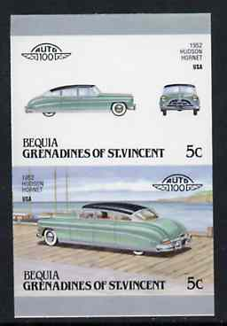 St Vincent - Bequia 1987 Cars #7 (Leaders of the World) 5c (1952 Hudson Hornet) imperf se-tenant proof pair in issued colours from limited printing unmounted mint*