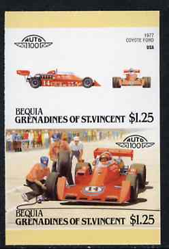 St Vincent - Bequia 1987 Cars #7 (Leaders of the World) $1.25 (1977 Coyote Ford) imperf se-tenant proof pair in issued colours from limited printing unmounted mint*
