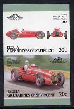 St Vincent - Bequia 1987 Cars #7 (Leaders of the World) 20c (1939 Maserati  8 CTF) imperf se-tenant proof pair in issued colours from limited printing unmounted mint*