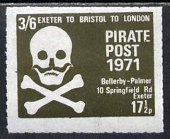 Cinderella - Great Britain 1971 Pirate Post (Exeter to Bristol to London) 17.5p-3s6d rouletted label in blackish-green depicting Skull & Cross-bones unmounted mint*