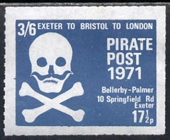 Cinderella - Great Britain 1971 Pirate Post (Exeter to Bristol to London) 17.5p-3s6d rouletted label in grey-blue depicting Skull & Cross-bones unmounted mint*
