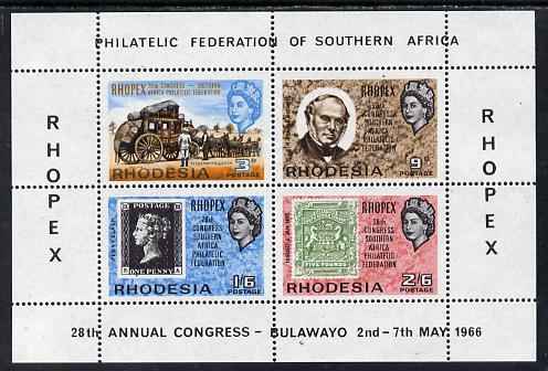 Rhodesia 1966 Philatelic Congress 'Rhopex' perf m/sheet unmounted mint, SG MS 392