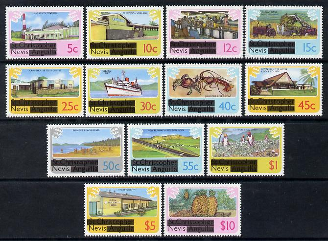 Nevis 1980 Obliterated definitive set complete 5c to $10 unmounted mint as SG 37-49