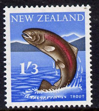 New Zealand 1960-66 Rainbow Trout 1s3d (from def set) unmounted mint, SG 792