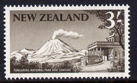 New Zealand 1960-66 Tongariro National Park 3s blackish-brown (from def set) unmounted mint, SG 799