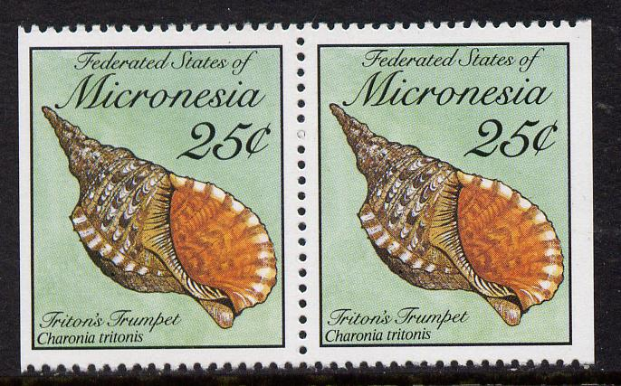 Micronesia 1989 Sea Shells 25c definitive horizontal pair imperf on outer edges (ex booklet) unmounted mint, SG 140