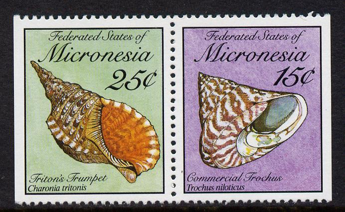 Micronesia 1989 Sea Shells 15c & 25c definitive se-tenant pair imperf on outer edges (ex booklet) unmounted mint, SG 138 & 140