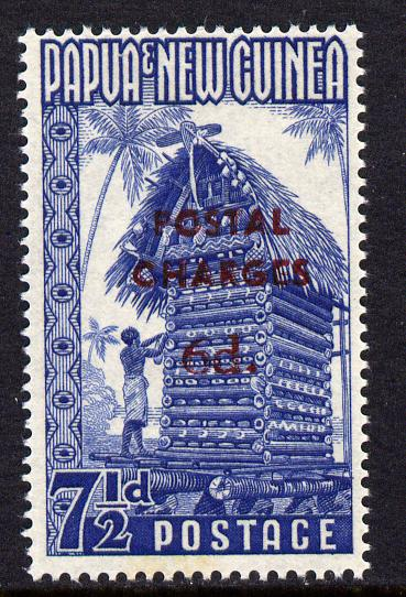 Papua New Guines 1960 Postal Due 6d on 7.5d blue opt'd Postal Charges unmounted mint, SG D4