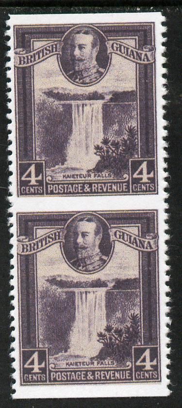 British Guiana 1934-51 KG5 Kaieteur Falls 4c slate-violet vertical pair with horizontal perfs omitted  'Maryland' unused forgery, as SG 291b - the word Forgery is either handstamped or printed on the back and comes on a presentation card with descriptive notes