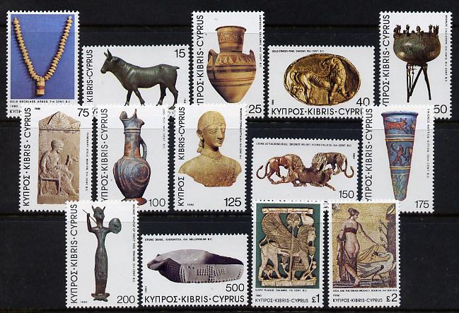 Cyprus 1980 Archaeological Treasures definitive set complete 14 values unmounted mint, SG 545-58