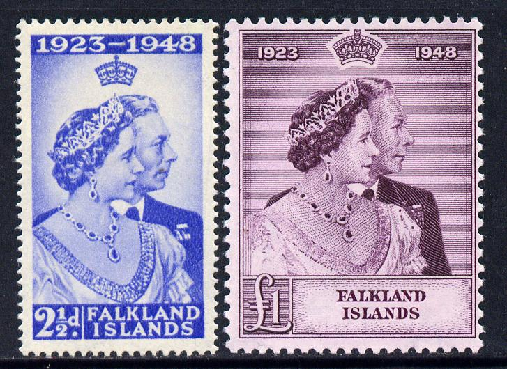 Falkland Islands 1948 KG6 Royal Silver Wedding perf set of 2 mounted mint, SG 166-7